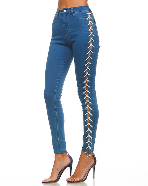 HIGH WAIST LACE UP GIDDYEM UP JEAN - orangeshine.com