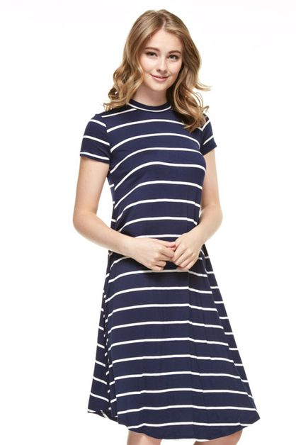 STRIPED SHORT SLEEVE DRESS - orangeshine.com