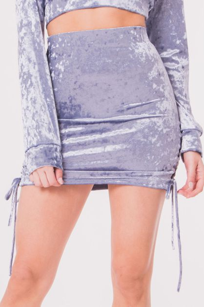 CRUSHED VELVET LACE UP SKIRT - orangeshine.com
