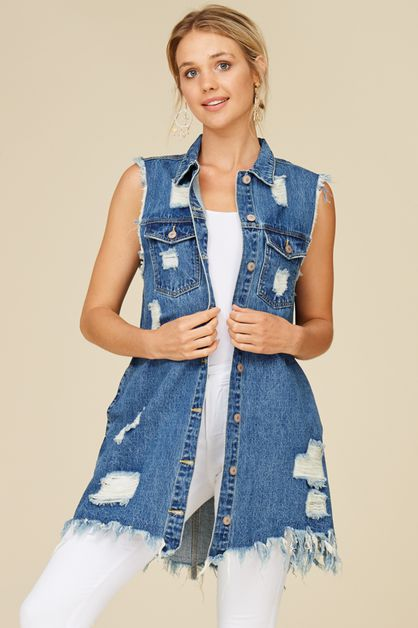 DISTRESSED DENIM VEST - orangeshine.com