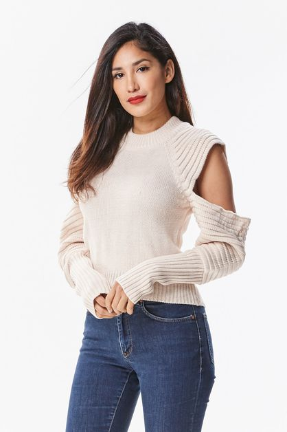 Cold Shoulder Pullover Knit - orangeshine.com