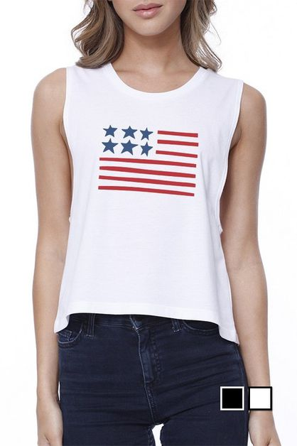 USA FLAG Crop Tee - orangeshine.com