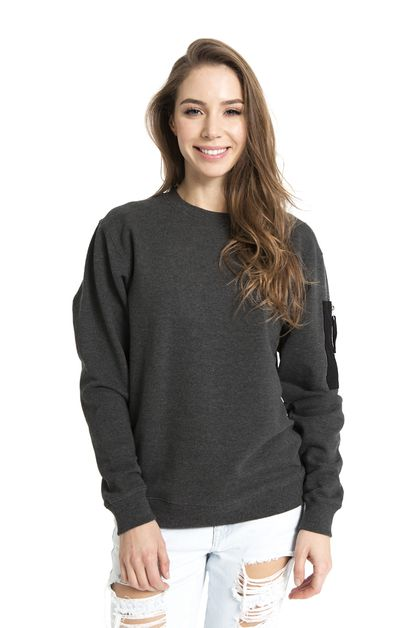 WARM SWEATSHIRT WITH ZIP-UP ARM POCK - orangeshine.com