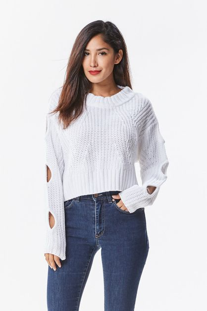 Slit Sleeve Crop Sweater - orangeshine.com