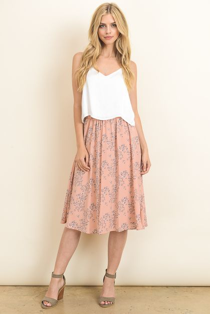 Floral Pleated Midi Skirt - orangeshine.com