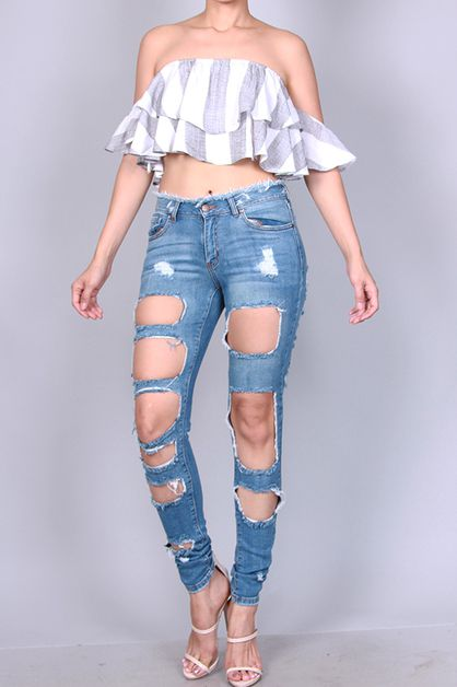 MASSIVE CUT OUT DISTRESSED SKINNY - orangeshine.com