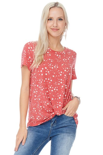 STAR PRINT SHORT SLEEVE TOP - orangeshine.com