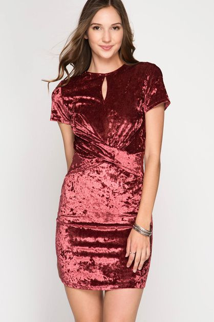 SL4985 - VELVET FITTED BODYCON DRESS - orangeshine.com