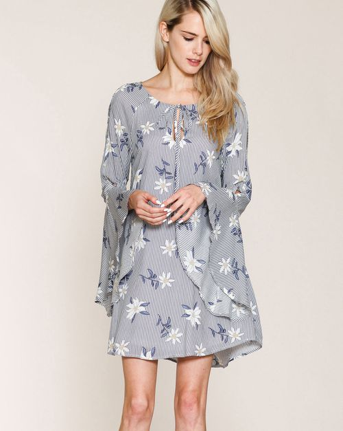 RUFFLED BELL SLEEVE DRESS - orangeshine.com