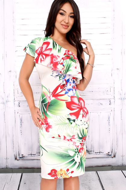 FLORAL ONE SHOULDER PARTY DRESS - orangeshine.com