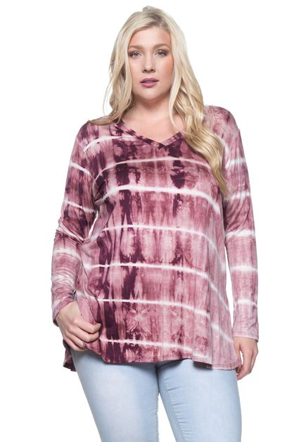 TIE DYE PRINT LONG SLEEVE TOP - orangeshine.com
