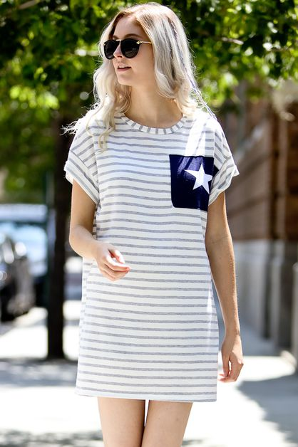Stripe dress with star pocket detail - orangeshine.com