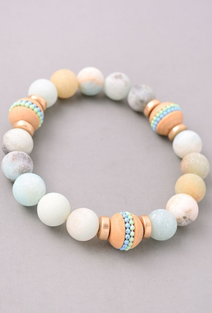 Precious Stone Beaded Stretch Bracel - orangeshine.com