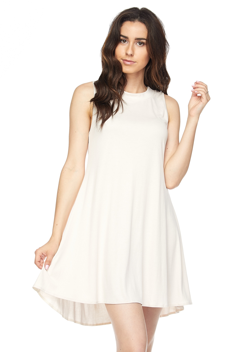 CUPRO RIB SLVLESS SHIFT    DRESS - orangeshine.com