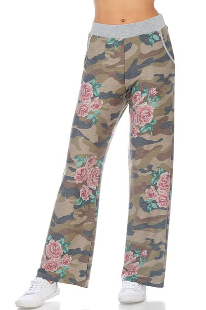 CAMO AND FLORAL PRINT WIDE PANTS - orangeshine.com