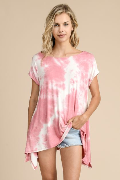 TIE DYE TOP TUNIC WITH SHORT SLEEVES - orangeshine.com