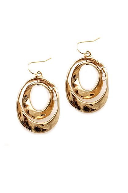 Oval Hammered Metal Earrings - orangeshine.com