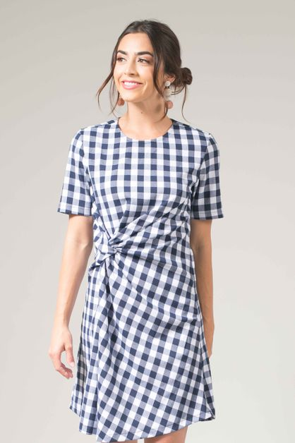 Gingham Knot Shift Dress - orangeshine.com