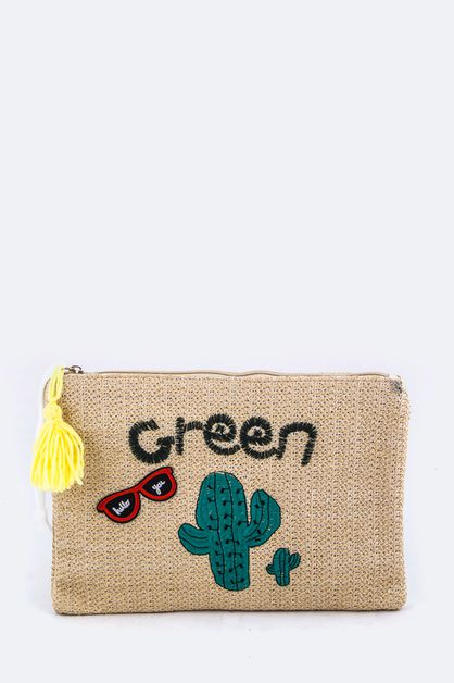 Green Cactus Embroidery Straw Pouch - orangeshine.com