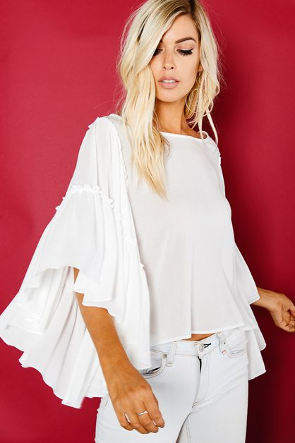 BIG SLEEVE BOAT NECK TOP - orangeshine.com