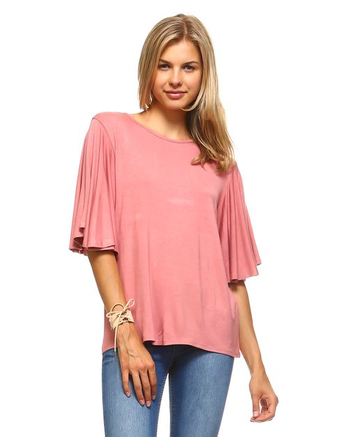 SOLID CIRCLE BELL SLEEVE TOP - orangeshine.com