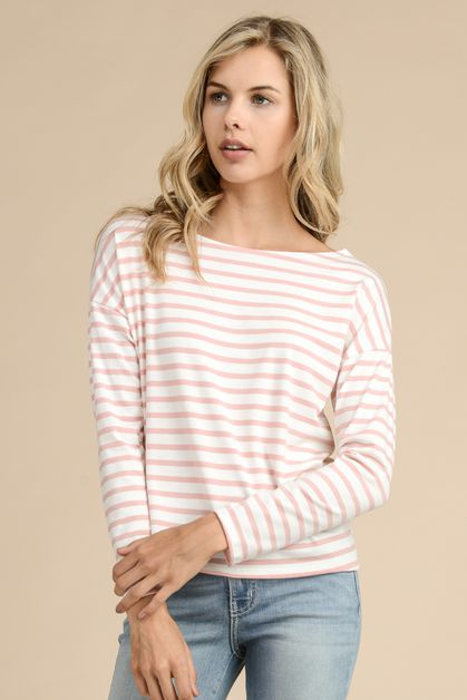 STRIPE FABRIC FEATURES DROP SHOULDER - orangeshine.com