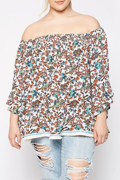 OFF SHOULDER FLORAL  TOP - orangeshine.com