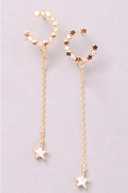 Bejeweled Star Dangle Earrings - orangeshine.com