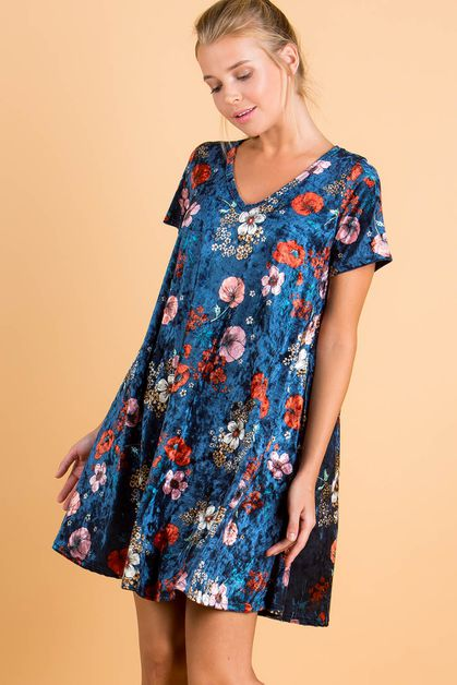 FLORAL PRINT VELVET DRESS - orangeshine.com