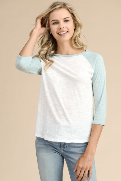 COLORED CONTRAST RAGLAN SLEEVE TOP   - orangeshine.com