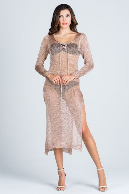 LUREX KNIT LONG SLEEVE DRESS - orangeshine.com