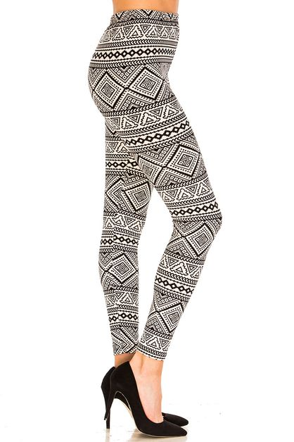 Abstract Repeat Printed Leggings - orangeshine.com