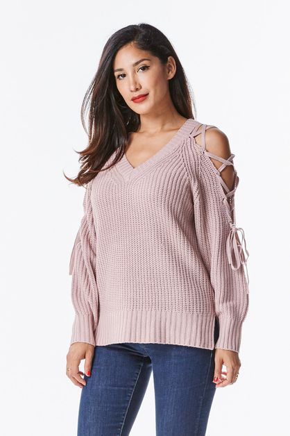 Lace Me Up Cold Shoulder Sweater - orangeshine.com