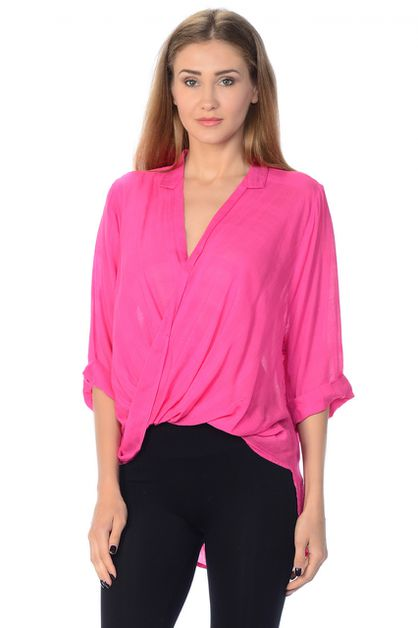 Womens Surplice front Draped Blouse - orangeshine.com