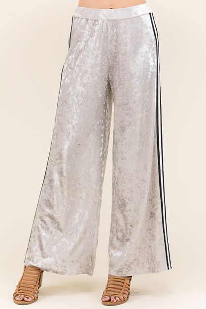 VELVET WIDE REG PANTS    - orangeshine.com
