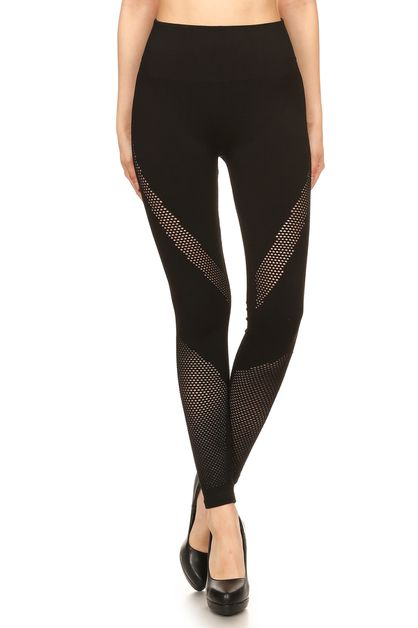 Fishnet Leg Panels Black leggings - orangeshine.com