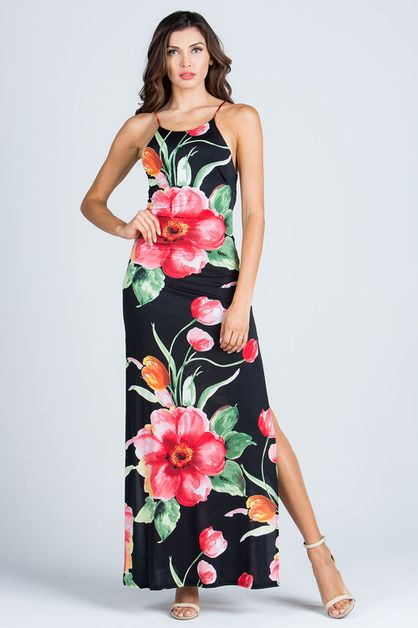 FLORAL PRINT BACK TIE MAXI DRESS - orangeshine.com