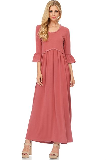 BABY DOLL SLEEVE MAXI DRESS - orangeshine.com
