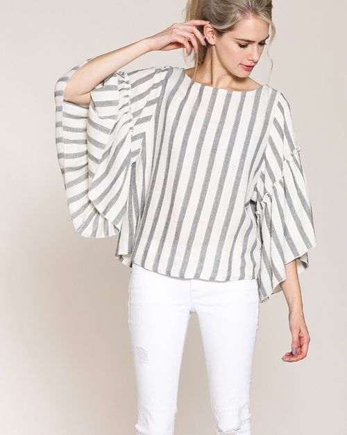 STRIPED EXTRA SIDE BELL SLEEVES TOP - orangeshine.com