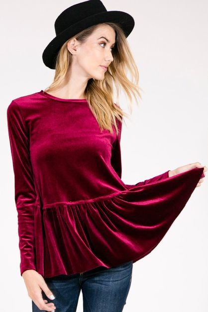 TC1591-SOLID SOFT VELVET TOP - orangeshine.com