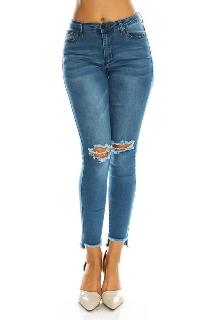 HIGH RISE HI LOW FRAYED HEM JEANS - orangeshine.com
