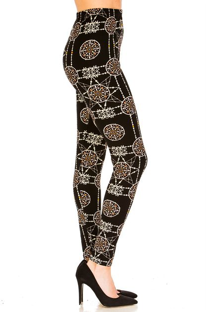 Geometric Printed Leggings - orangeshine.com
