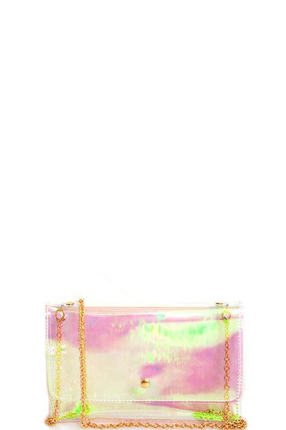 Transparent Rainbow Tint Clutch - orangeshine.com