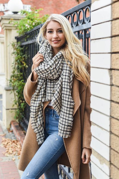 Tattersall Plaid Blanket Scarf - orangeshine.com