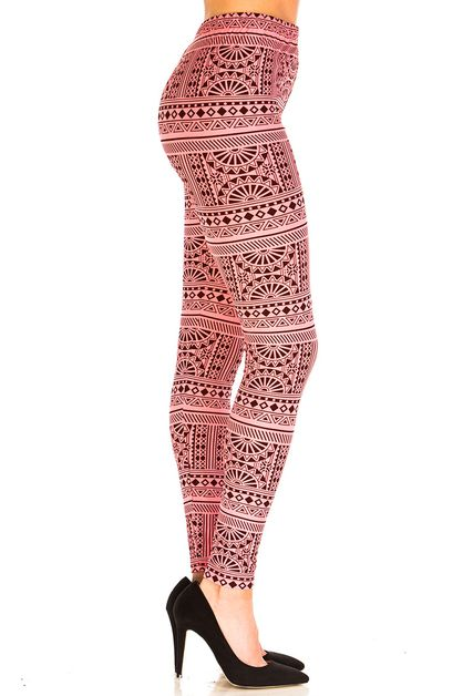 Pink Tribal Inspired Print Leggings - orangeshine.com