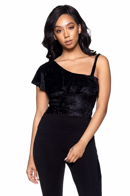 Velvet One Shoulder Ruffle Bodysuit - orangeshine.com
