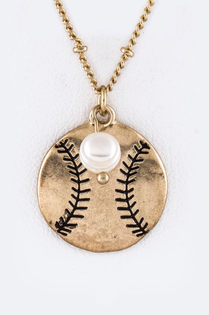Baseball Pendant Necklace Set - orangeshine.com