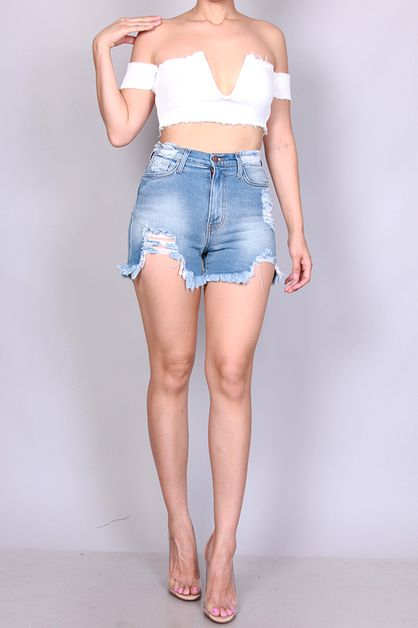 HIGH WAIST DISTRESSED SHORTS - orangeshine.com