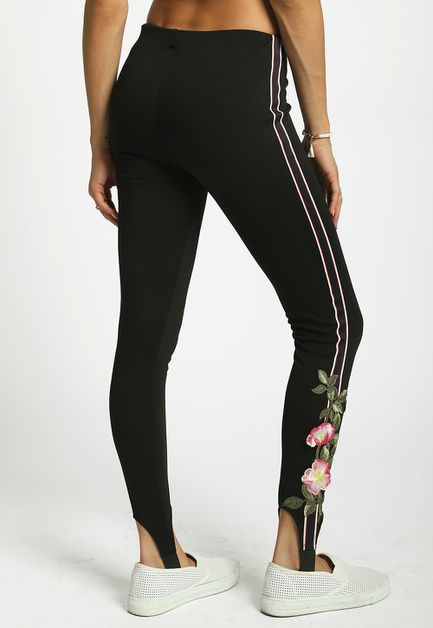 FLORAL STRIPE STIRRUP LEGGINGS  - orangeshine.com