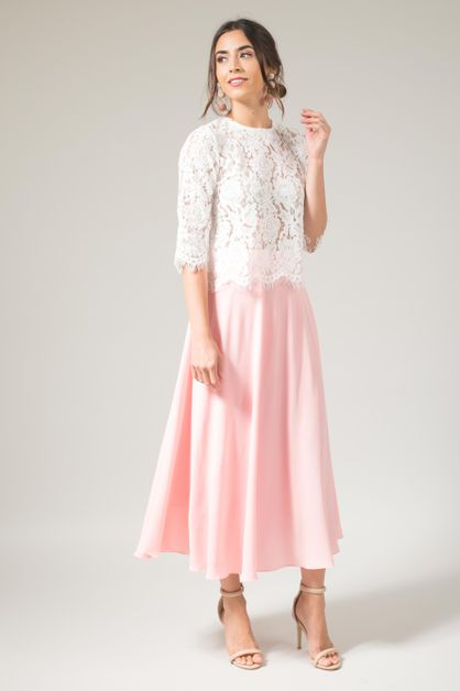 Peach Blush Flowy Midi Tulle Skirt - orangeshine.com